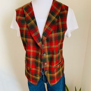 Pendleton Knockabout Wool Red Plaid Vest